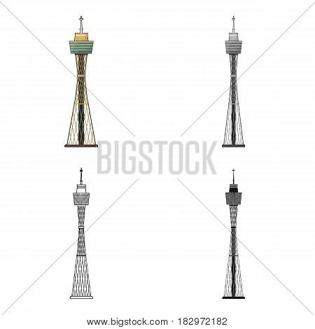 Sydney Tower icon in cartoon design isolated on white background. Australia symbol stock vector illustration.
