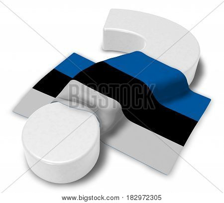 question mark and flag of estonia - 3d illustration