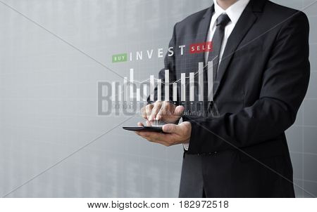 Business Concept, Invest Buy Or Sell Asset Online