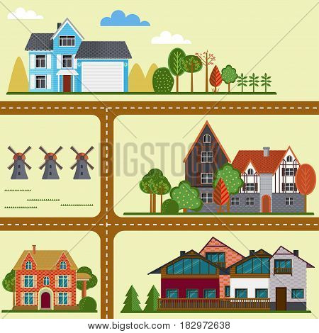 Flat countryside map concept with road suburban houses cottages villas mills and trees vector illustration