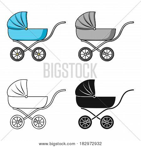Pram icon in cartoon style isolated on white background. Baby born symbol vector illustration.