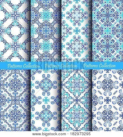 Blue backgrounds. Stylized floral fabric prints. Abstract flower seamless patterns. Square boho design elements. Vector wallpaper, interior decoration. Luxury indigo graphic. Weave ornament.