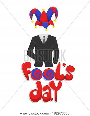 Colorful First April Fools Day concept with inscription business suit and joker funny hat isolated vector illustration
