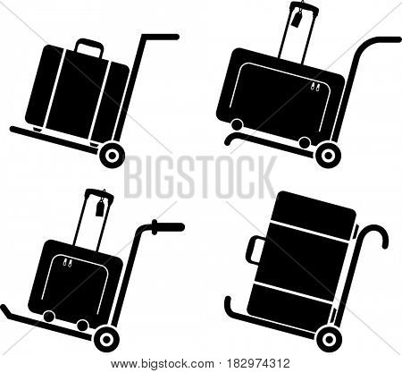 Suitcase on Trolley (Hand Truck)  Raster Illustration