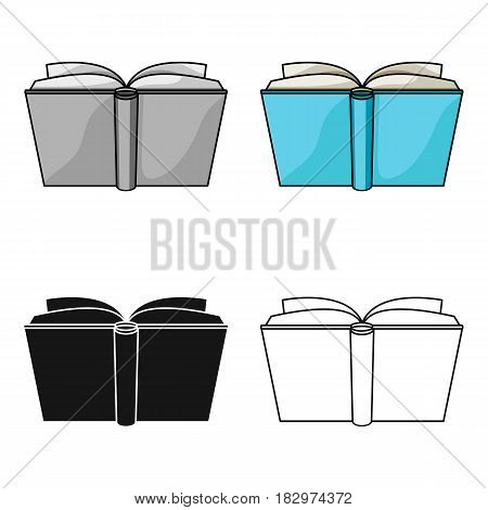 Blue opened book icon in cartoon design isolated on white background. Books symbol stock vector illustration.