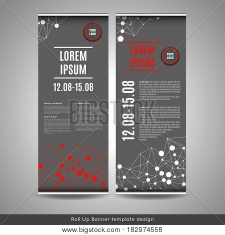 Trifold business brochure template design with connection background. Stock vector.