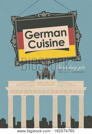 vector banner for a restaurant Germany cuisine with germany flag and Brandenburg gate