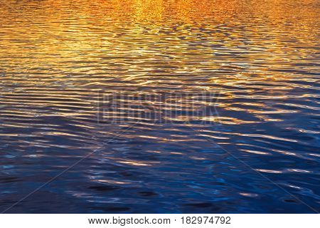 Yellow and blue wavy sunset water background