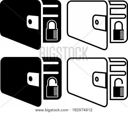 Wallet Icon Locked Unlocked  Raster Illustration