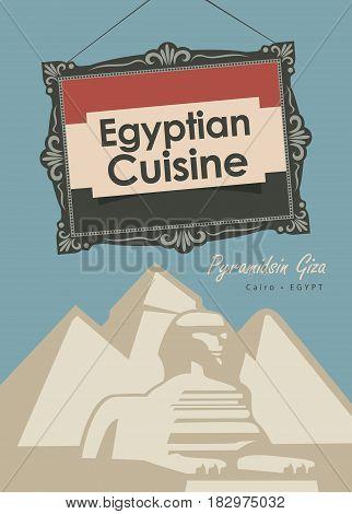 vector banner for a restaurant egyptian cuisine with egyptian flag and Pyramidsin Giza