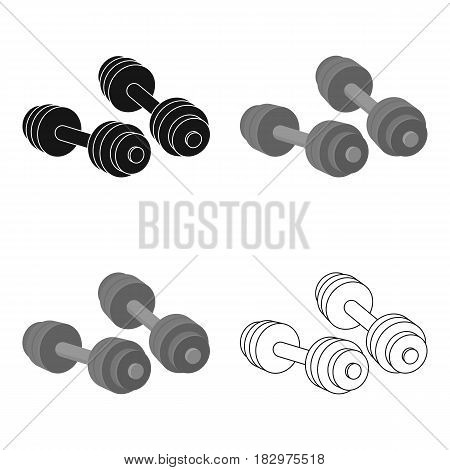 Dumbbells icon in cartoon style isolated on white background. Boxing symbol vector illustration.