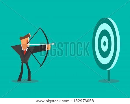 Businessman aiming target. Business concept. Vector illustration