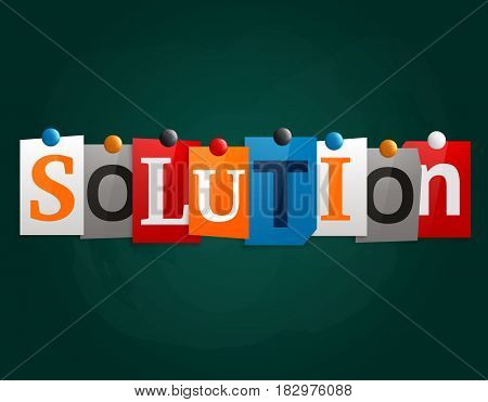 The word Solution made from newspaper letters attached to a blackboard or noticeboard with magnets.