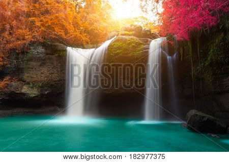 Amazing beautiful waterfalls in autumn forest at Haew Suwat Waterfall in Khao Yai National Park Thailand