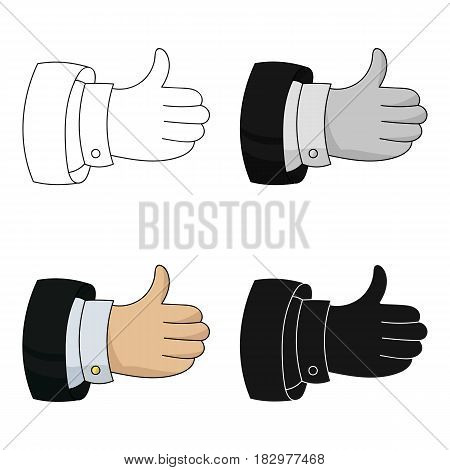 Thumb up icon in cartoon design isolated on white background. Conference and negetiations symbol stock vector illustration.