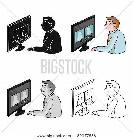 Video conference icon in cartoon design isolated on white background. Conference and negetiations symbol stock vector illustration.
