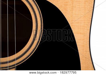 Part Of An Acoustic Guitar, Deck, On A White Isolated Background. Horizontal Frame