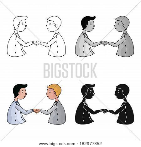 Handshaking of businessmen icon in cartoon design isolated on white background. Conference and negetiations symbol stock vector illustration.