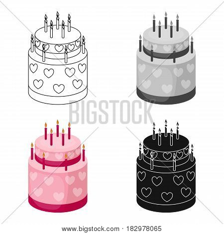 Cake with hearts icon in cartoon design isolated on white background. Cakes symbol stock vector illustration.