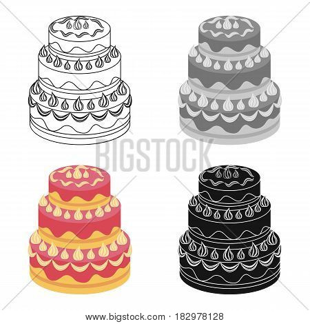 Red three-ply cake icon in cartoon design isolated on white background. Cakes symbol stock vector illustration.