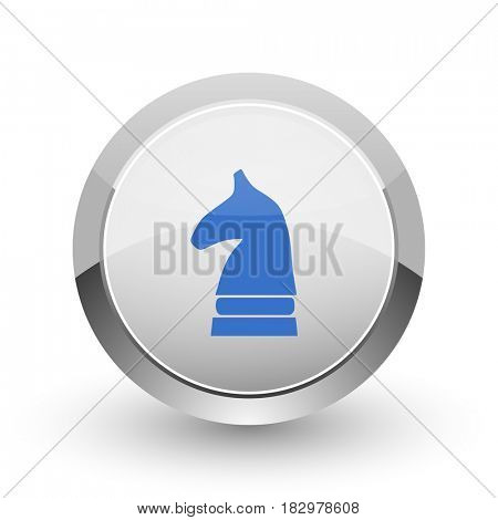 Chess horse chrome border web and smartphone apps design round glossy icon.