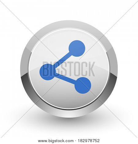 Share chrome border web and smartphone apps design round glossy icon.