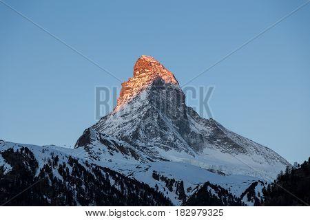 Sunset view of the famous mountain Matterhorn close to Zermatt, Switzerland