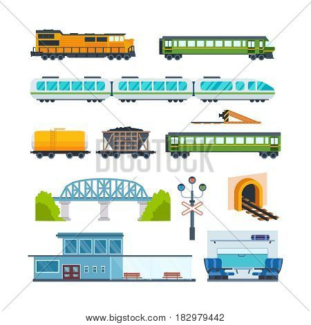 Railway locomotive with various wagons: transportation and cargo carriage coal. Wagons with passengers, freight, cisterns. Vector illustration isolated