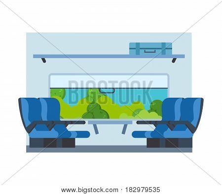Passenger train inside. Seat in railway transport. Travel by train, window with access to the street and nature on the background. Vector illustration.