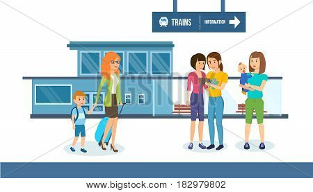Families with children and luggage on the background of the railway station, waiting for the train. Modern vector illustration isolated on white background in cartoon style.