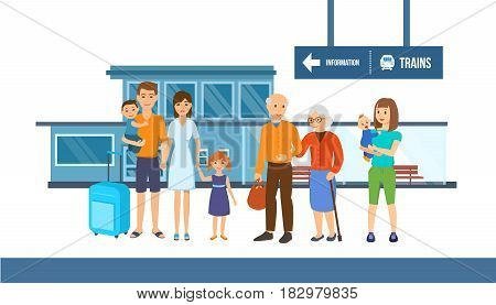 A large friendly family with a grandmother, grandfather, children and grandchildren goes on a joint trip. Modern vector illustration isolated on white background in cartoon style.
