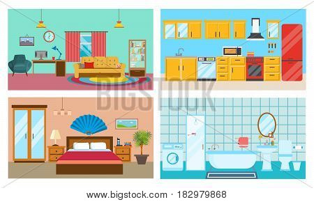 Modern interior of rooms: living room with interior and decor, kitchen with furniture, bedroom and stylish bathroom. Vector illustration.