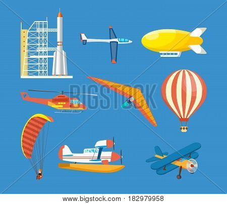 Air vehicles: missile with base, hang-glider, helicopter, airship, balloon, paraglider, biplane, land glider, amphibian aircraft Modern vector illustration isolated on blue background