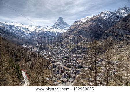 View of the famous Matterhorn and Zermatt in the Swiss Alps