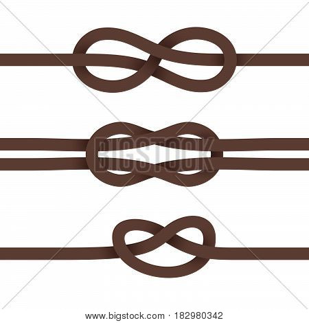 Brown Ribbons are Knotted. Set on a White Background.