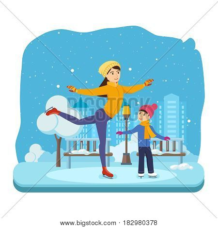 Kids favorite winter activities. Boy with in winter clothes, ride on the ice in a good mood. Next to them, Mom shows master class. Modern vector illustration isolated in cartoon style.