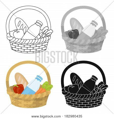 Basket with products icon in cartoon design isolated on white background. Charity and donation symbol stock vector illustration.