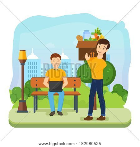 Man running remotely on a freelance, on a bench in the park. Guy in a good mood, make a purchase, and carries a large box on his shoulder. Modern vector illustration isolated in cartoon style.