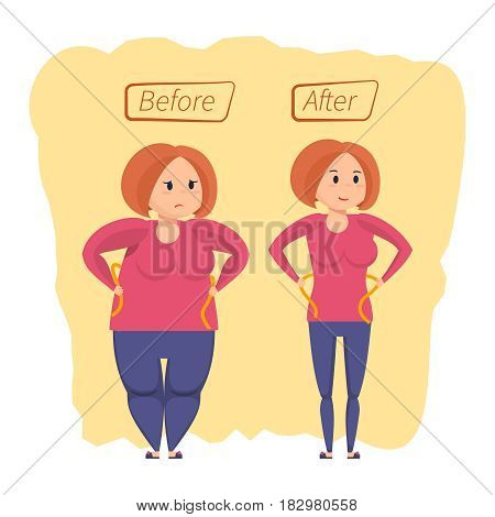 Fitness classes and weight loss concept. Girl before and after weight loss. Active sports and slimming girl with pretty face standing on scales and is happy new figure. Vector illustration isolated