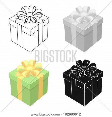 Gift icon in cartoon design isolated on white background. Charity and donation symbol stock vector illustration.