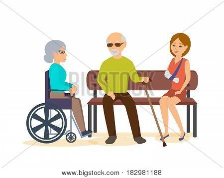 Disabled people concept. An elderly man with a cane, sits with a girl on a bench, an old woman sits next in the chair. Modern vector illustration isolated in cartoon style.