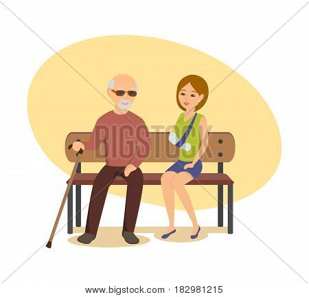 Disabled people concept. An elderly man with a cane in his hand sits on a bench next to a young girl whose arm is broken. Modern vector illustration isolated in cartoon style.