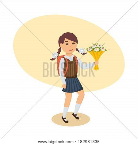 A girl in a beautiful school uniform, with a backpack behind her back and a bouquet of flowers in her hand, goes to school. Modern vector illustration isolated in cartoon style.