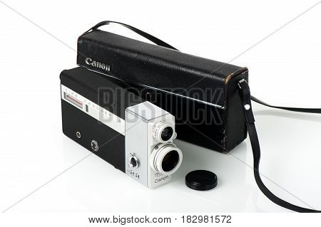 BANGKOK THAILAND - FEBRUARY 02 2015: The CINE CANONET 8 8mm movie camera from Canon.