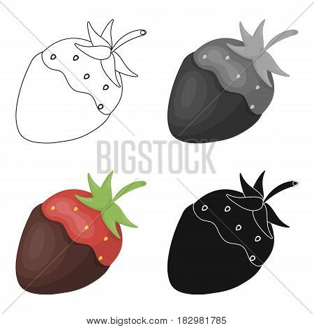 Strawberry in chocolate icon in cartoon design isolated on white background. Chocolate desserts symbol stock vector illustration.