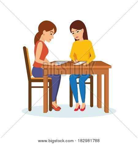 Two girls sitting at the table decide working moments, discuss, exchange materials. Modern vector illustration isolated in cartoon style.