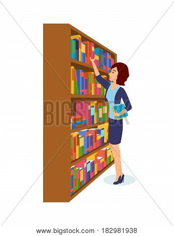 Library and bookstore with people. The girl is take books in the library, choosing the necessary ones. Modern vector illustration isolated in cartoon style.