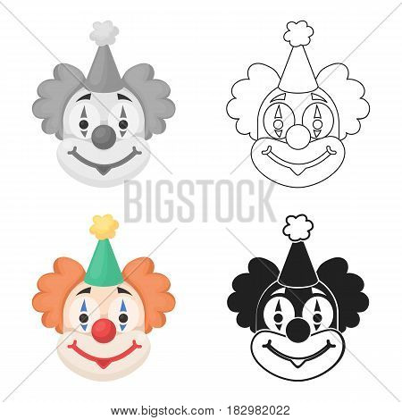 Clown icon in cartoon style isolated on white background. Circus symbol vector illustration.