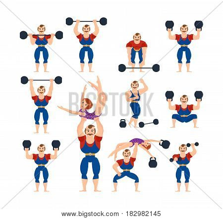 A set of circus athletes in various poses and circumstances, in a sports suit and with a gymnast in her arms. Modern vector illustration isolated in cartoon style.