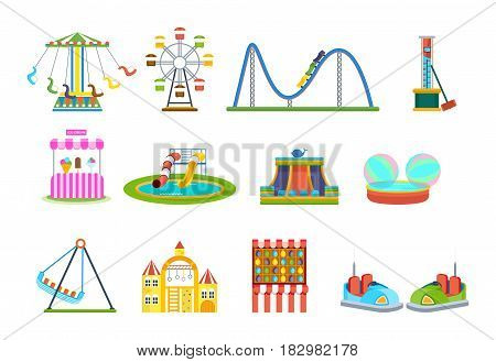 Amusement park for children with carousels, roller coaster, attractions and fun games. Modern vector illustration isolated on white background.